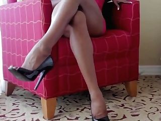 Hot Wifey In High-heeled Shoes & Underwear
