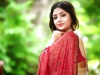 Doable Indian Aunty Rupashree In Crimson Sari Outside