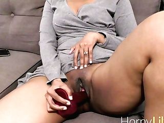 Indian Gorgeous Lady Lily Using A Big Fake Penis Masturbating